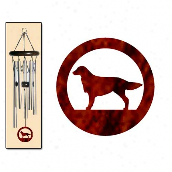 Flat-coated Retriever Wind Chimes Small Silver