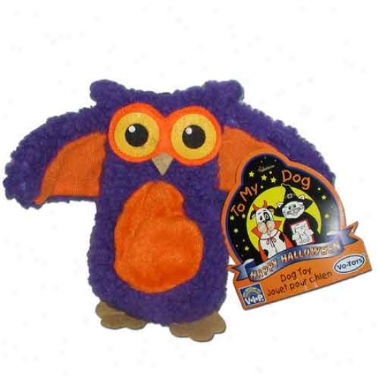 Flat N Fuzzy Fleece Spooky Owl Halloween Dog Toy