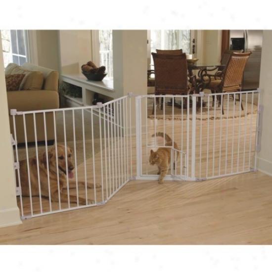 Flexi Walk-thru Metal Gate With Small Pet Door