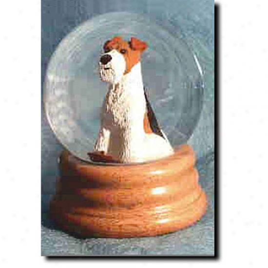 Fox Terrier (brown) Musical Snow Globe - Wire