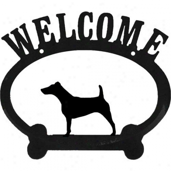 Fox Terrier Metal Welcome Sign
