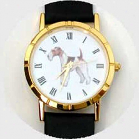 Fox Terrier (wire) Watch - Large Face, Black Leather