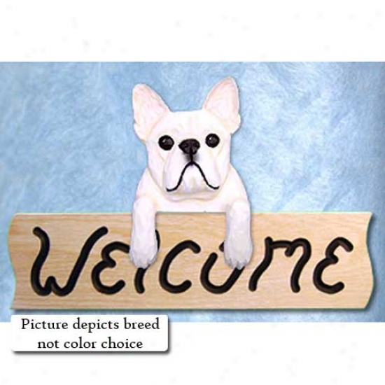 French Bulldog Black And Brindle Welcome Sign Oak