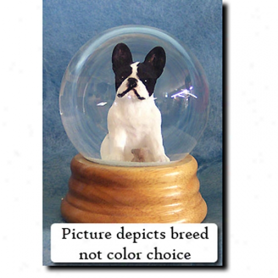 French Bulldog (white) Musical Snow Globe