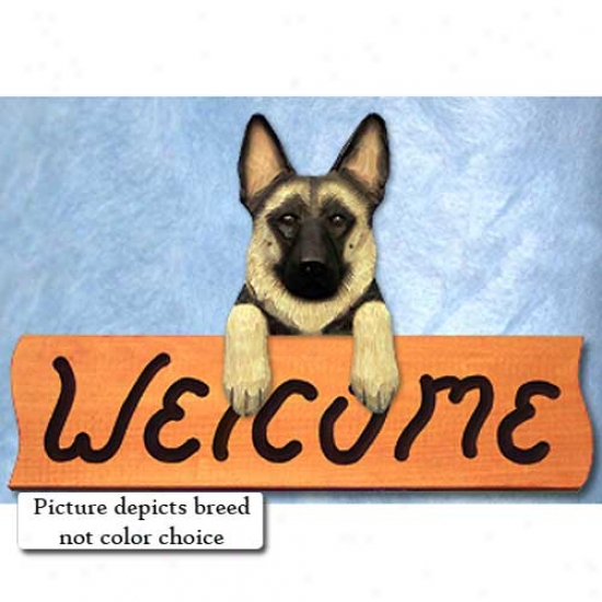 German Shepherd Dog Black Welcome Sign Maple