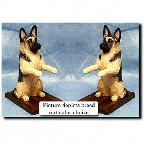 German Shepherd Dog Bookends Black Attending Tan Points