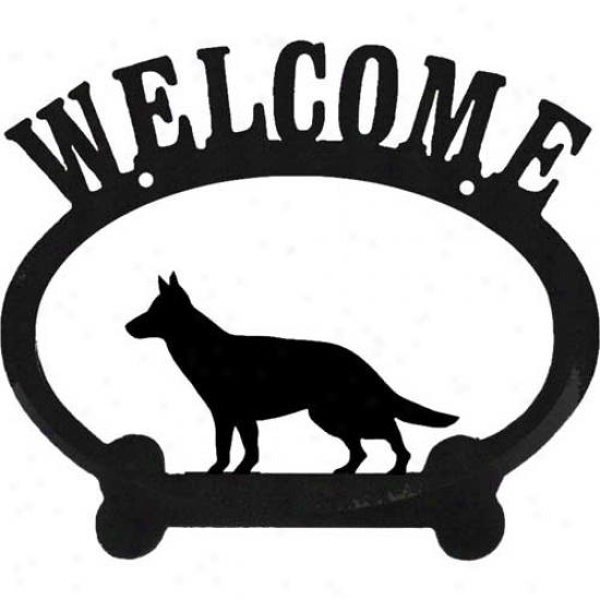 German Shepherd Dog Metal Welcome Sign