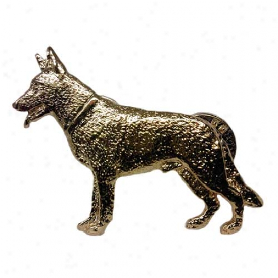 Germman Shepherd Dog Pin 24k Gold Plated