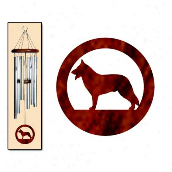 German Shepherd Dog Wind Chimes Medium Silver