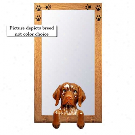 German Shorthaired Pointer Hall Mirror With Oak Natural Frame
