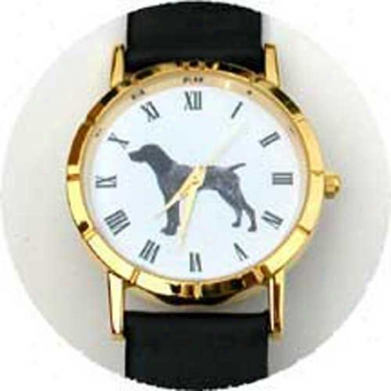 German Shorthaired Pointer Watch - Large Face, Black Leather