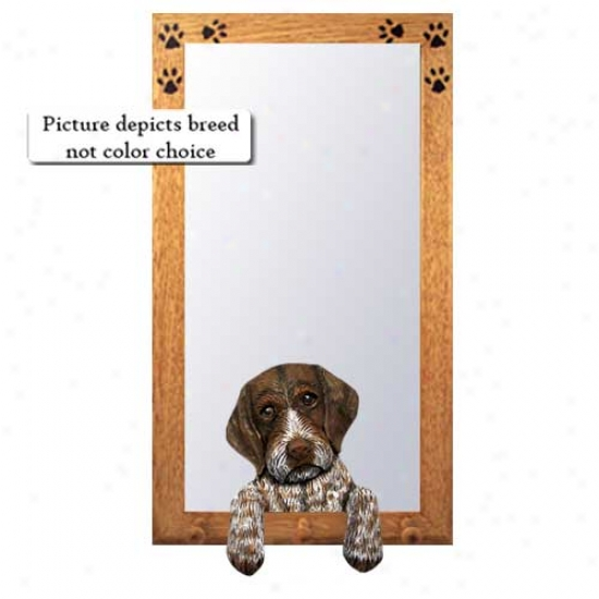 German Wirehaired Pointer Hall Mirror With Oak Goolden Frame