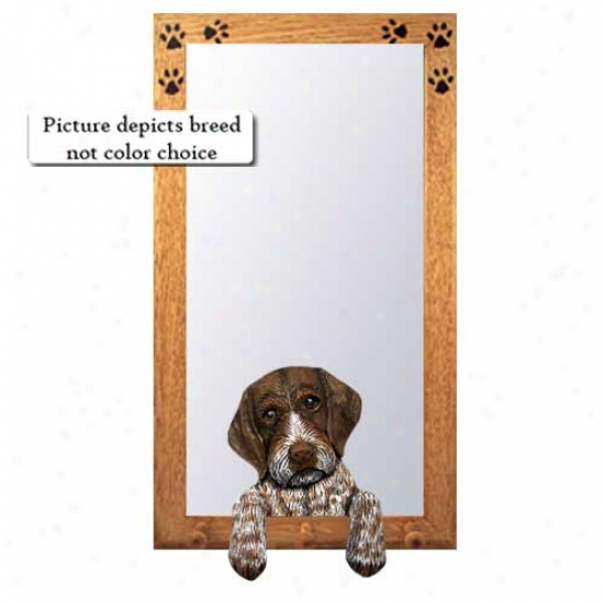 German Worehaired Pointer Hall Mirror With Oak Natural Frame
