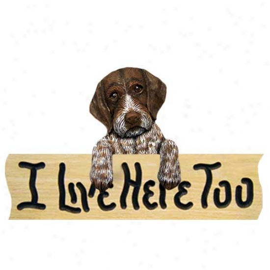 German Wirehaired Pointer I Live Here Too Oak Finish Sign