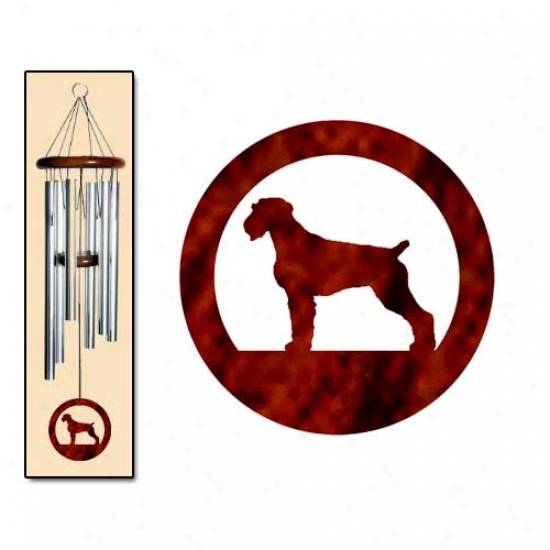 German Wirehaired Pointer Wind Chimes Medium Silver
