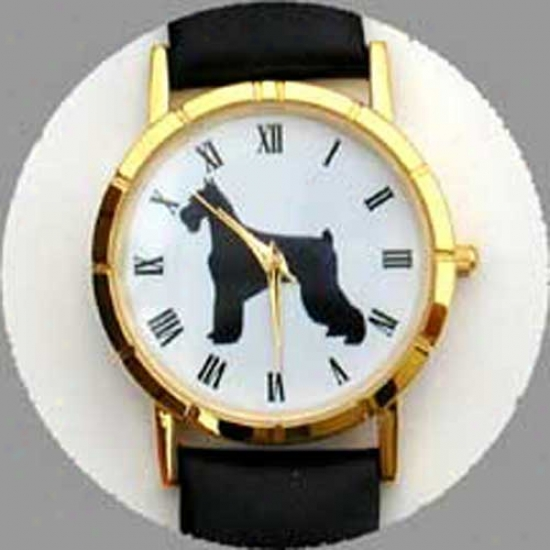 Giant Schnauzer Watch - Small Face, Black Leather