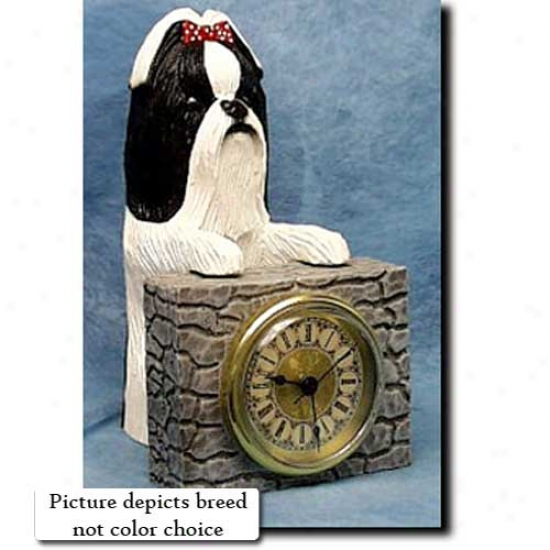 Gold And White Shih Tzu Mantle Clock