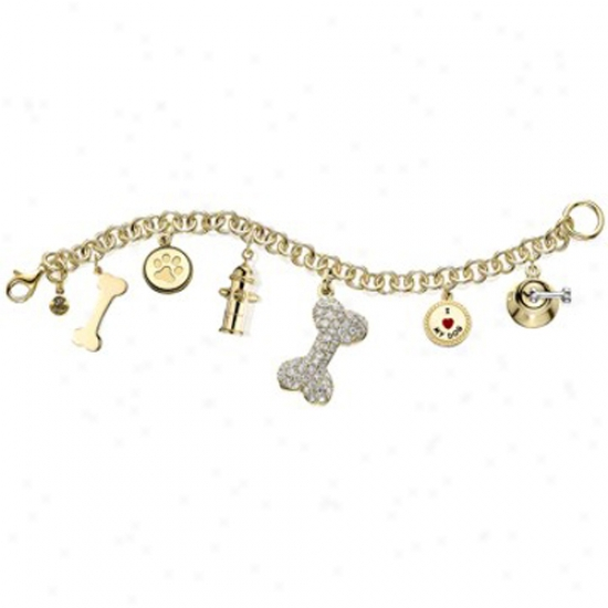 Gold Plated Charm Bracelet With Austrian Crystals