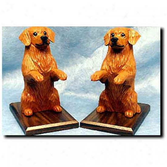 Golden Rertiever Bookends Dark