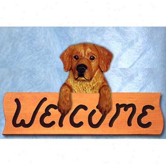 Excellent Retriever Dark Show Welcome Sign Maple