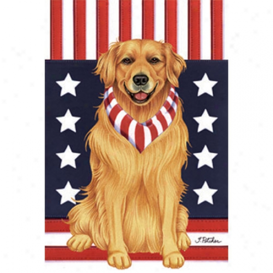 Bright Retriever Patriotic Breed Garden Flag