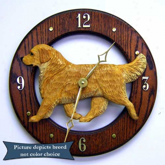 Golden Retrievet Wall Clock In Light Oak By Michael Park