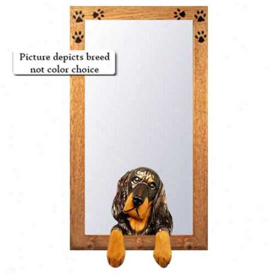 Gordon Setter Entry  Mirror With Oak Golden Frame