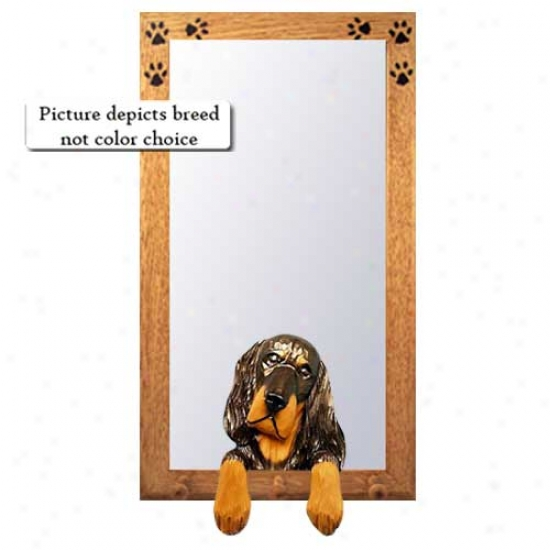 Gordon Setter Hall Mirror With Oak Natural Frame