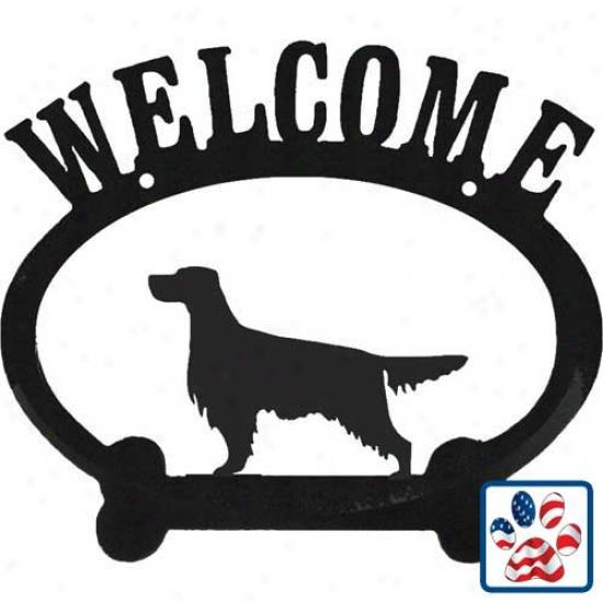 Gordon Setter Meetal Welcome Sign