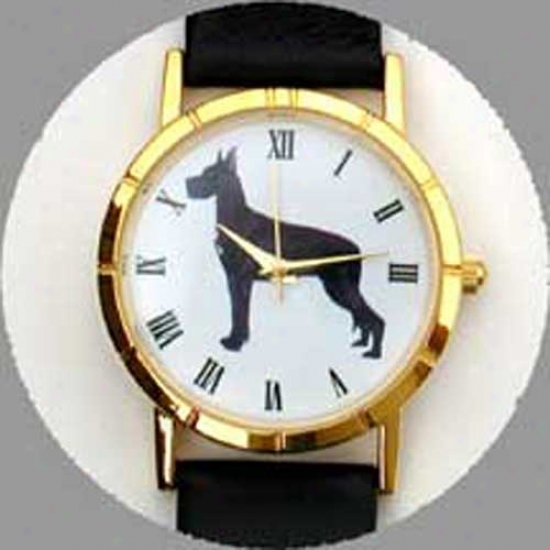 Great Dane (black) Watch - Small Face, Black Leather