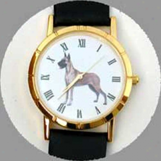 Great Dane (fawn) Watch - Small Face, Black Leather