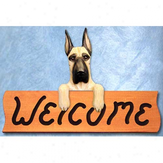 Great Dane Fawn Welcome Sign Maple