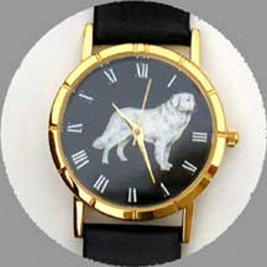 Great Pyrenees Watch - Small Face, Black Leather