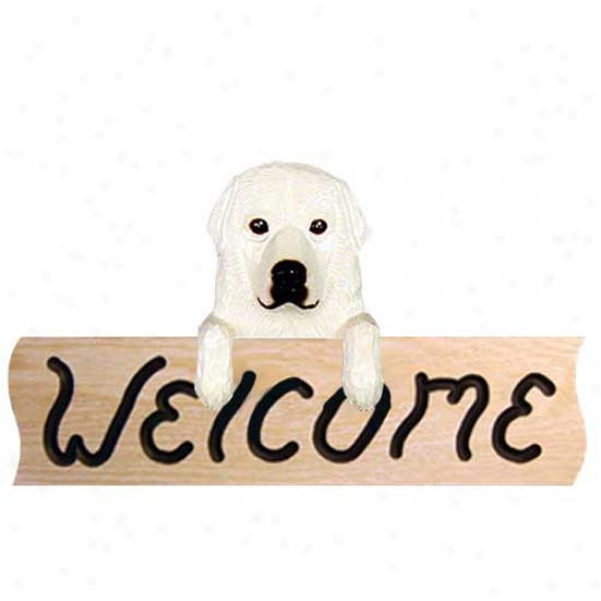Great Pyrenees Welcome Sign Oak