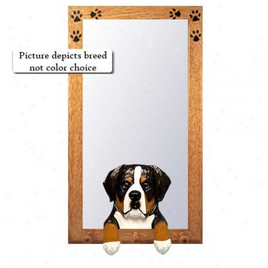 Greater Switzer Mountain Dog Hall Mirror With Oak Yellow Frame