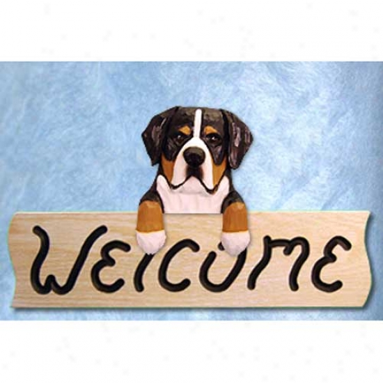 Greater Swiss Mountain Dog Welcome Sign Oak