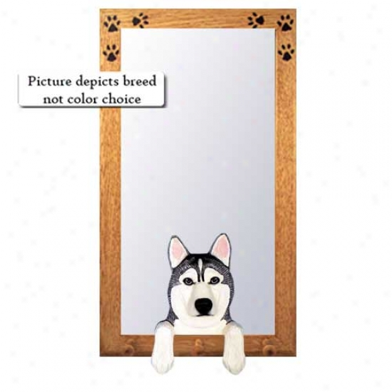 Grey And White Siberian Husky Hall Mirror With Oak Natural Frame
