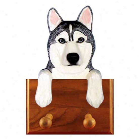 Grey And White Siberian Husky Leash Holder