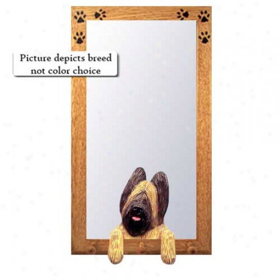 Grey Briard Halk Mirror With Oak Natura1 Frame