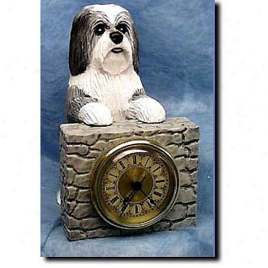 Grey Havanese Mantle Clock