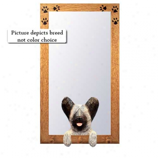 Grey Skye Terrier Hall Mirror With Oak Natural Frame