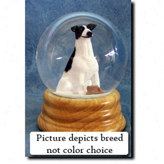 Greyhound (brindle And White) Musical Snow Globe