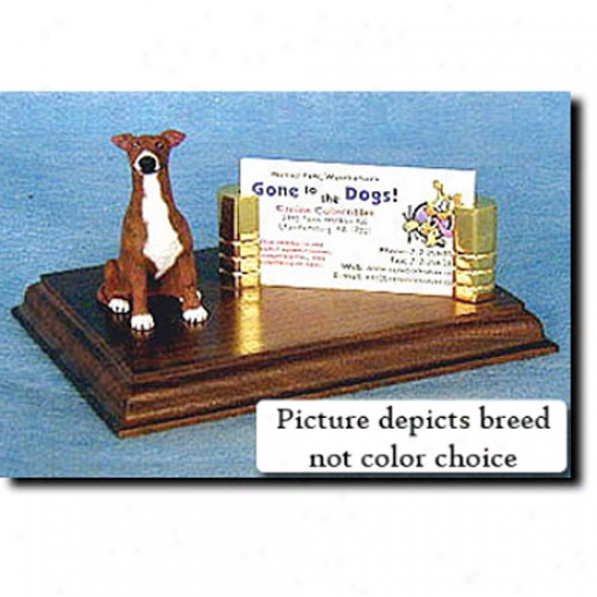 Greyhound (fawn Brindle) Business Card Holder