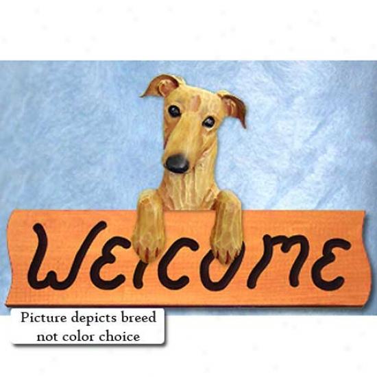 Greyhound Grey Weocome Sign Maple