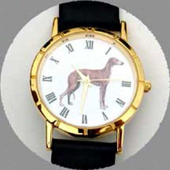 Greyhound Watch - Small Face, Black Leather