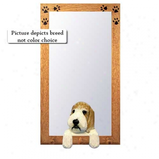 Grizzle And White Petit Basset Griffon Vendeen Hall Mirror Oak Natural Frame
