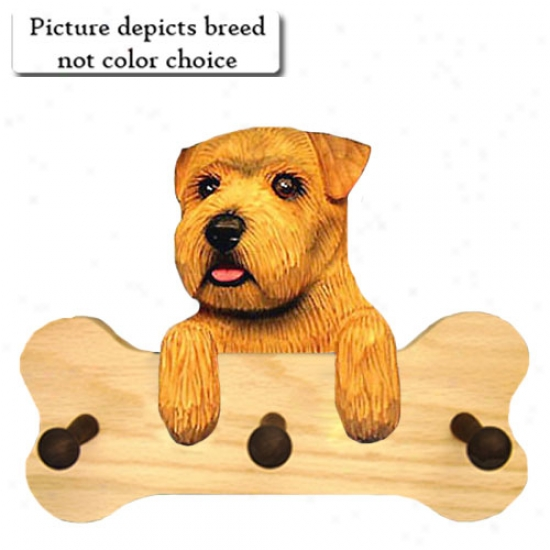 Grizzle Norfolk Terrier Bone Hang Up Natural Oak