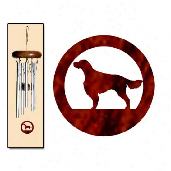 Irish Red And White Setter Wind Chime X-small Silver