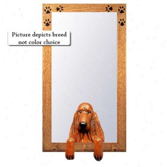 Irish Setter Hall Mirror With Basswood Pine Frame