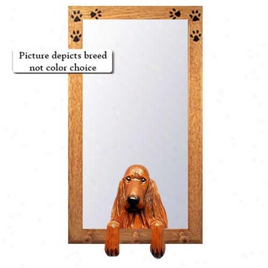 Irish Setter Hall Mirror With Basswood Walnut Frame